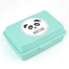 Cajita Porta Alimentos Panda Menta personalizada