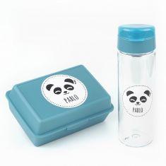 Pack Botella 600ml + Cajita Porta Alimentos Panda Azul personalizadas