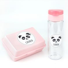 Pack Botella 600ml + Cajita Porta Alimentos Panda Rosa personalizadas