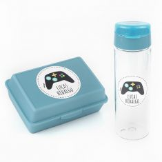 Pack Botella 600ml + Cajita Porta Alimentos Consola Azul personalizadas
