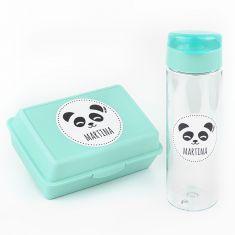 Pack Botella 600ml + Cajita Porta Alimentos Panda Menta personalizadas