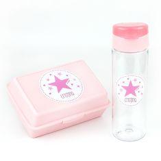 Pack Botella 600ml + Cajita Porta Alimentos Estrella Rosa personalizadas