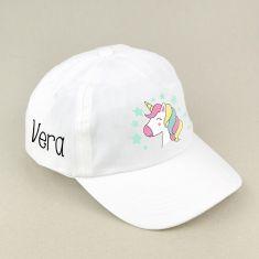Gorra Junior Unicornio Blanca personalizada