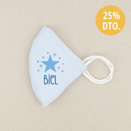 Mascarilla Higiénica reutilizable Personalizada Estrella Azul Color a elegir