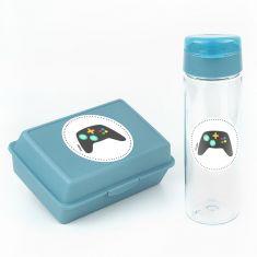 Pack Botella 600ml + Cajita Porta Alimentos Consola Azul sin personalizar