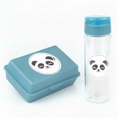Pack Botella 600ml + Cajita Porta Alimentos Panda Azul sin personalizar