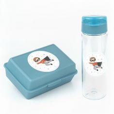 Pack Botella 600ml + Cajita Porta Alimentos Superhéroe Azul sin personalizar