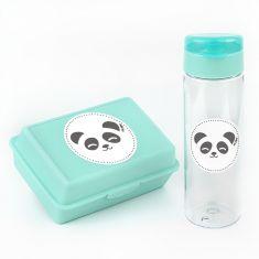 Pack Botella 600ml + Cajita Porta Alimentos Panda Menta sin personalizar