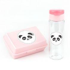Pack Botella 600ml + Cajita Porta Alimentos Panda Rosa sin personalizar