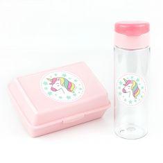 Pack Botella 600ml + Cajita Porta Alimentos Unicornio Rosa sin personalizar