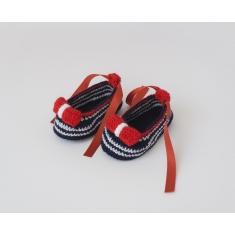 Zapatitos de Ganchillo Verano Niña Lazo Rojo