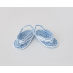 Zapatitos de Ganchillo Verano Niño Chancla Azul