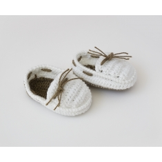 Zapatitos de Ganchillo Verano Niño Blanco