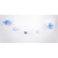 Guirnalda de tul y ganchillo Handmade Azul