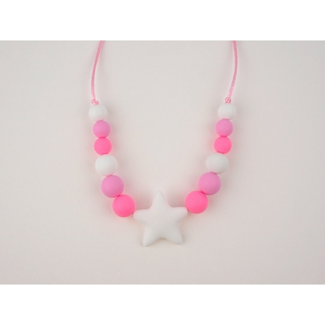 Teething Necklace of Lactation Basic Star Pink