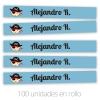 Cinta Marca Prendas termoadhesiva Personalizada Pirata azul