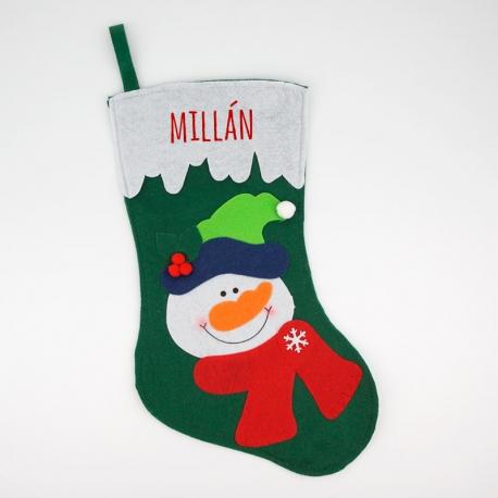 Calcet n navidad personalizado verde mu eco de nieve mi pipo - Calcetines de navidad personalizados ...