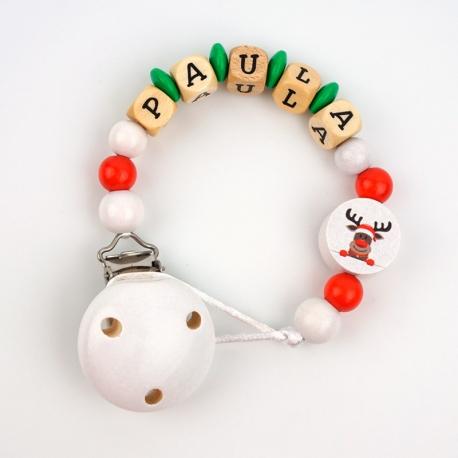Cadenita de madera personalizada Navidad reno blanca