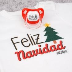 Cajita Navidad Body + Chupete Divertido Feliz Navidad