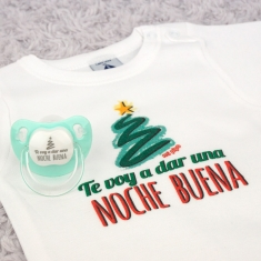 Cajita Body + Chupete Divertido Navidad Te voy a dar una Noche Buena