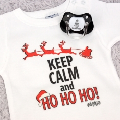 Cajita Navidad Body + Chupete Divertido Keep calm and ho ho ho!