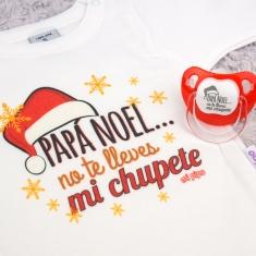 Cajita Navidad Body + Chupete Divertido Papá Noel, no te lleves mi chupete