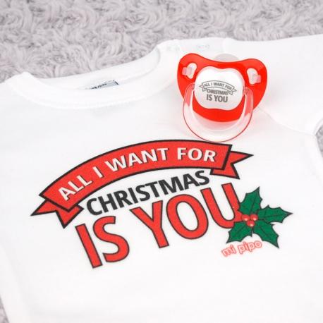 Cajita Navidad Body + Chupete Divertido All I want for Christmas is you