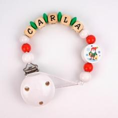 Cadenita de madera personalizada Navidad Papá Noel blanca