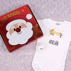 Cajita Navidad body + chupete Estrella fugaz Personalizada