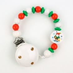 Cadenita de madera Navidad Papá Noel blanca no personalizada