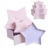 Cajitas de regalo forma estrellas rosa 3u