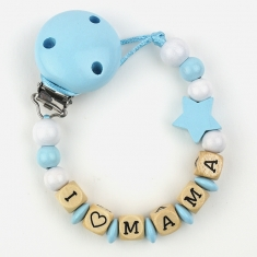 Wood chain I love Mommy Blue