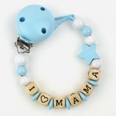 Wood chain I love Mommy Blue
