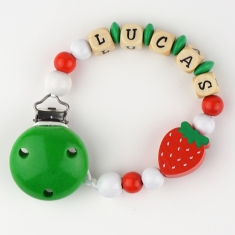 Wood chain Green Strawberry Personalized