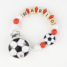 Wood chain Football Red-White Personalized