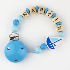 Wood chain Blue Boat Personalized