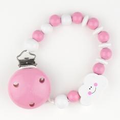 Cadenita de madera nube rosa no personalizada