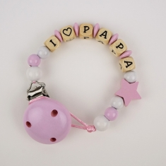 Wood chain I love Daddy Pink