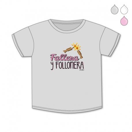 Camiseta Divertida Bebé Fallera y Follonera