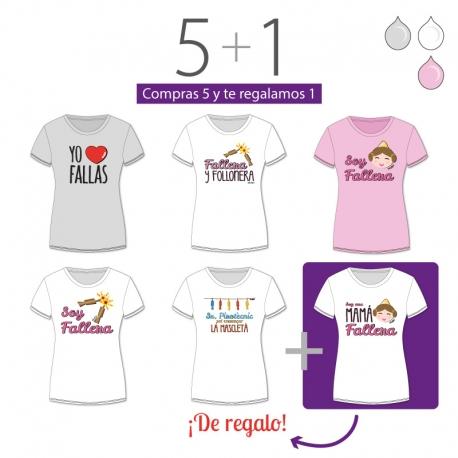 PROMO Camiseta Divertida Mamá especial Fallas, compra 5 y te regalamos 1