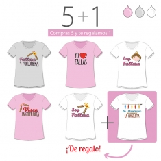 PROMO Camiseta Divertida Niña especial Fallas, compra 5 y te regalamos 1