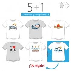 PROMO Camiseta Divertida Niño especial Fallas, compra 5 y te regalamos 1