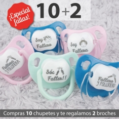 Pack 10 Chupetes Baby Divertidos Especial Fallas + 2 Broches de Regalo