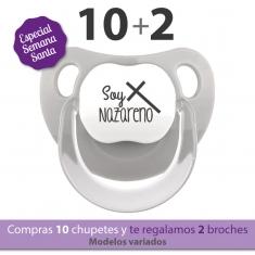 Pack 10 Chupetes Baby Divertidos Semana Santa + 2 Broches de Regalo