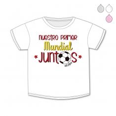 Camiseta Divertida Bebé Nuestro primer Mundial juntos