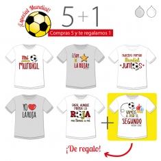 PROMO Camiseta Divertida Niño especial Mundial, compra 5 y te regalamos 1