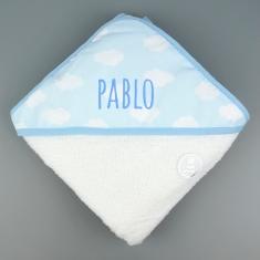 Capa de baño Mi Pipo Nubes Azul Personalizada