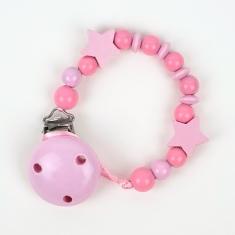 Cadenita de madera estrellas tonos rosa no personalizada