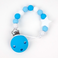 Chain of Wood and Silicone Blue Star Not Personalized