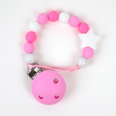 Chain of Wood and Silicone Pink Star Not Personalized